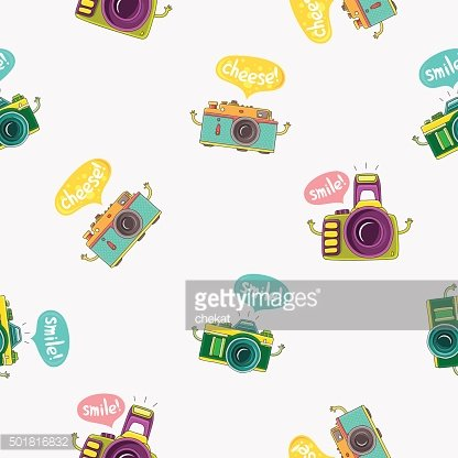 Seamless vector pattern of cameras