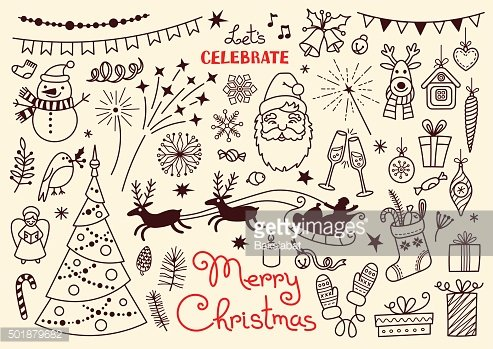 Merry Christmas. Doodle set of characters and decorations. Freehand vector