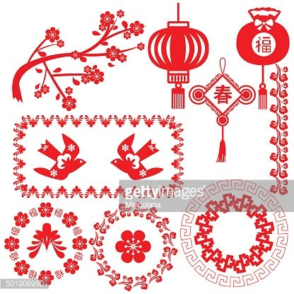 Chinese new year set background with greetings.