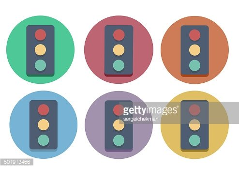 Six multi-colored icons of a traffic light.