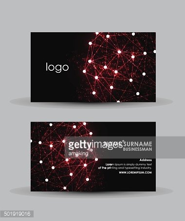 Abstract red hi-tech - Business card vector design template.