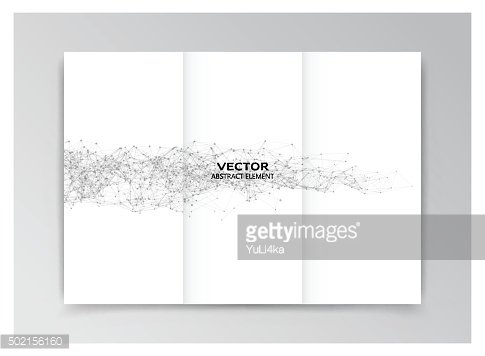 White template of booklet with black abstract elements