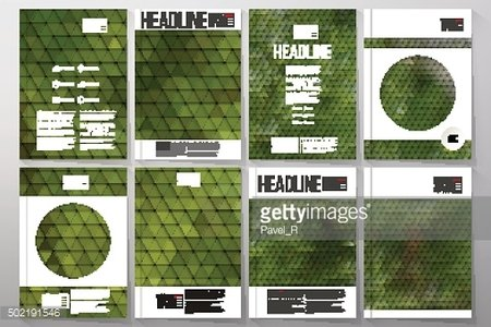 Business templates for brochure, flyer or booklet. Green leaves texture