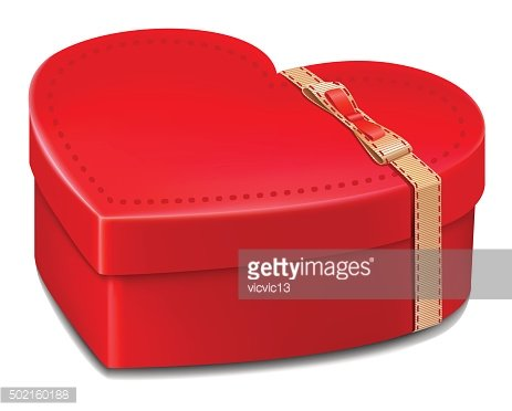 red gift box heart . valentine day love
