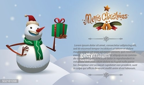 Christmas card snowman with gift