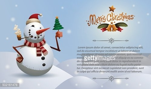 Christmas card snowman with tree