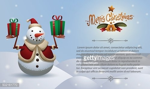 Christmas card snowman with two gifts