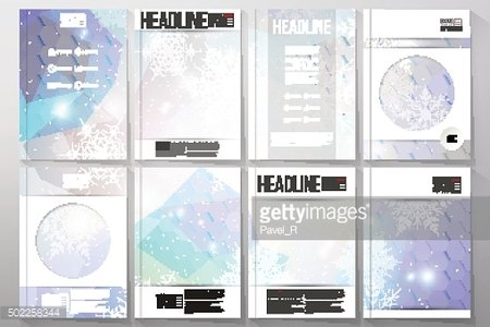 Set of business templates for brochure, flyer or booklet. Blue