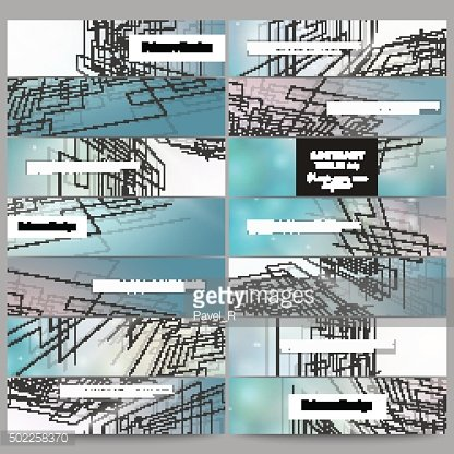 Set of modern banners. Abstract vector background, digital technologies, cyber