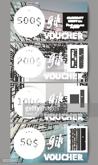 Set of modern gift voucher templates. Abstract vector background, digital