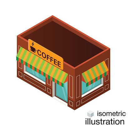 Vector Isometric Cafe Building Icon