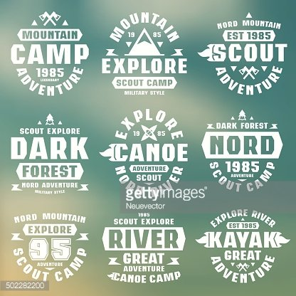 Camping and tourism badges