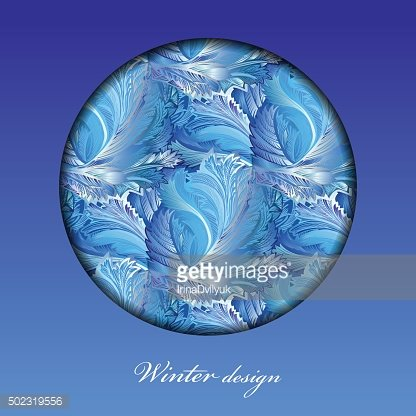 Winter frozen glass background. Circle design with text place.