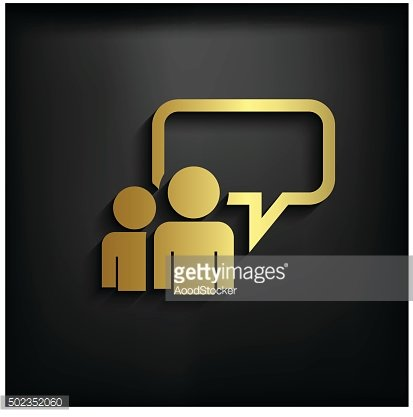 Chatting icon sign with gold color, vector EPS10 illustration