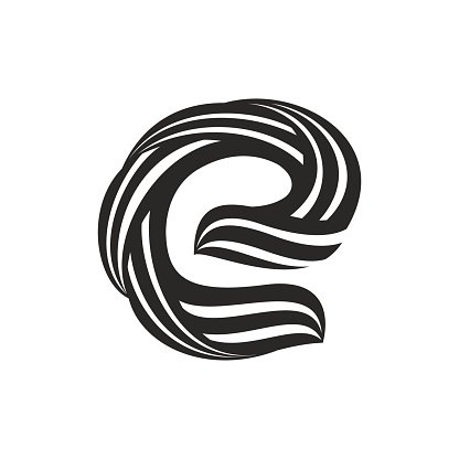 E Letter Icon Formed By Twisted Premium Clipart