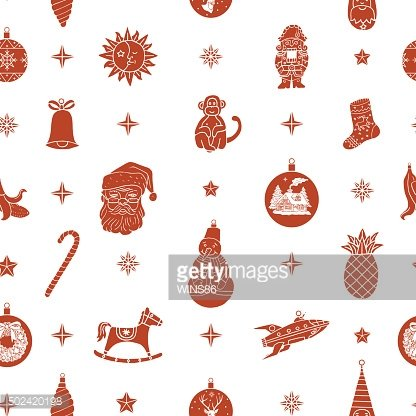 Seamless pattern with Christmas elements and illustrations
