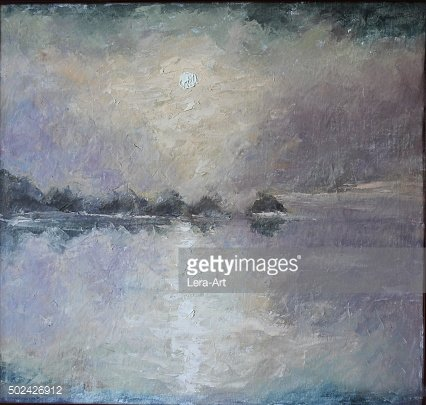 Coastal fog over the river, oil painting