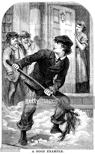Young Victorian man sweeping snow