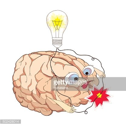 Brain with turning lightbulb and wires short-circuit in cartoon style.