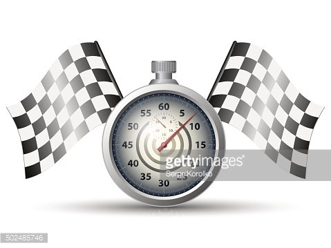 Stopwatch with checkered racing flags
