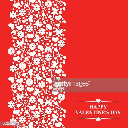 Valentines card with floral elements and hearts on red backgroun
