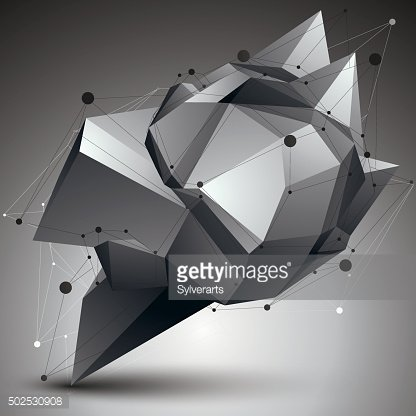 3D vector abstract design object, polygonal complicated shape