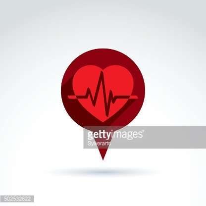 Heartbeat line, red medical cardiology icon. Vector illustration