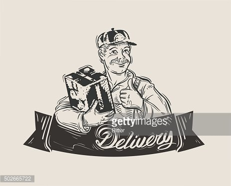 Delivery of goods vector logo design template. Mail carrier or