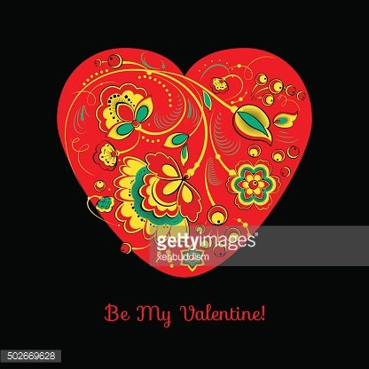 Valentine Card With Flowers On A Red Heart Clipart Image