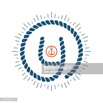 Y letter formed by rope with compass star and anchor