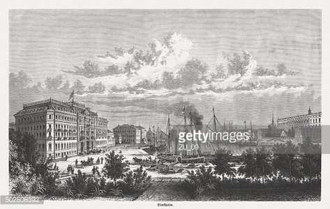 The Port of Stockholm, published in 1875