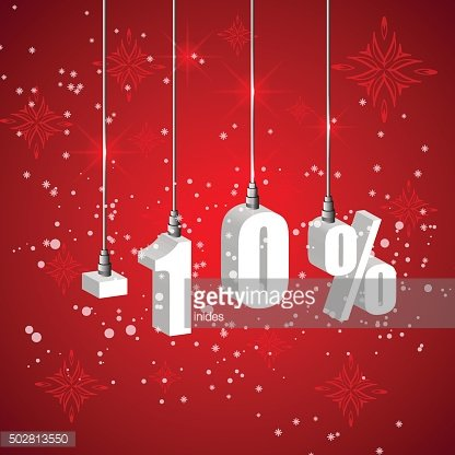 Holiday winter sale discount banner. Hanging 3d bulb digit lights