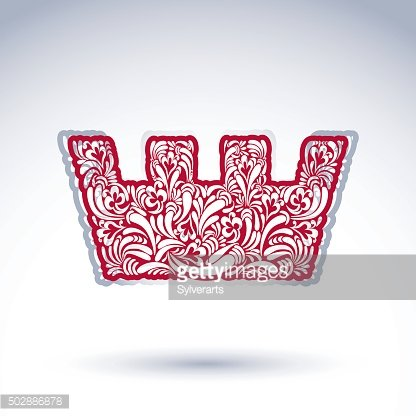 Flower-patterned imperial crown isolated on white background.