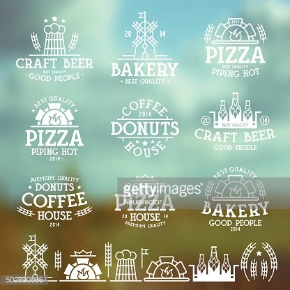 Labels for bakery, cafe, pizzeria