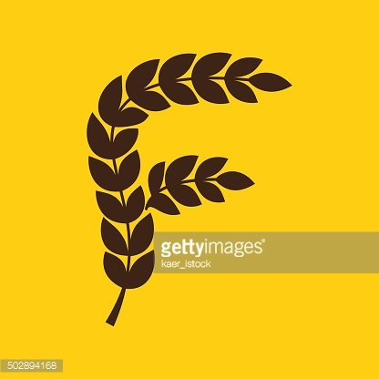 F letter icon formed by laurel wreath