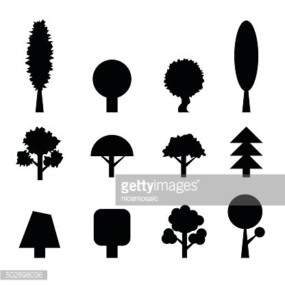 Set of Trees Silhouettes. Collection of Design Elements. Icons