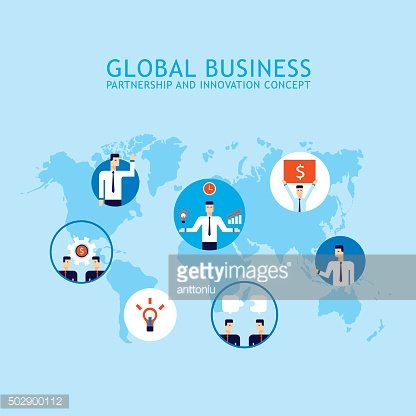 Global Communication Social network Partnership Success of business people concept
