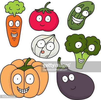vector set of vegetable and fruit cartoon