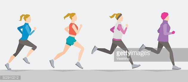 Poses of running girl. Seasonal trainings