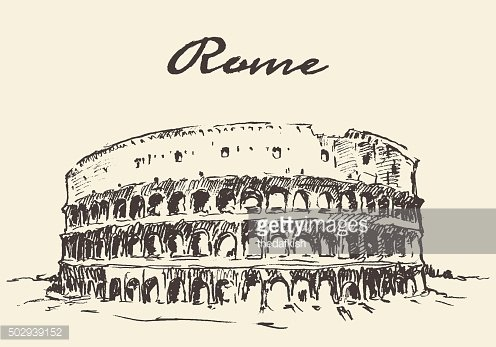 Streets Rome Colosseum vector drawn sketch