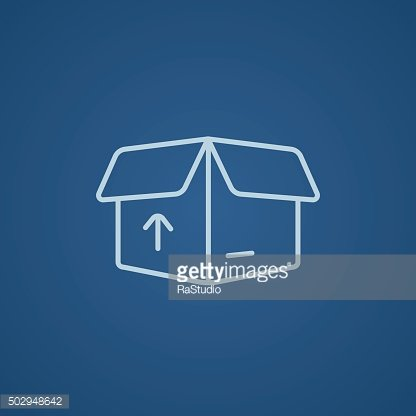 Carton package box line icon