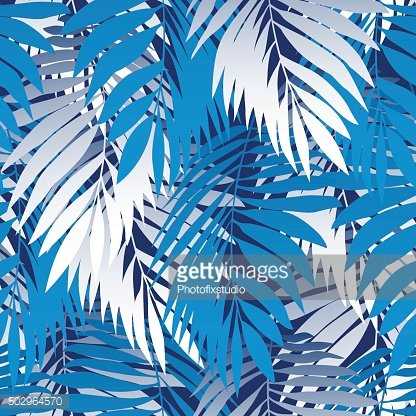 Blue palm leaves in a seamless pattern