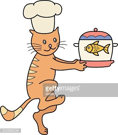 Cat With A Pot Of Fish Soup