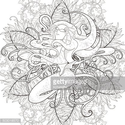 Attractive Mermaid Coloring Page Clipart Image 1 566 198 Clip Arts