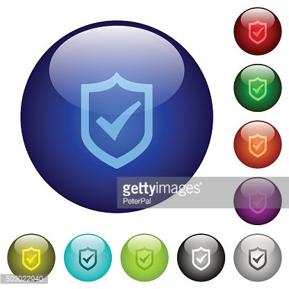 Color active shield glass buttons
