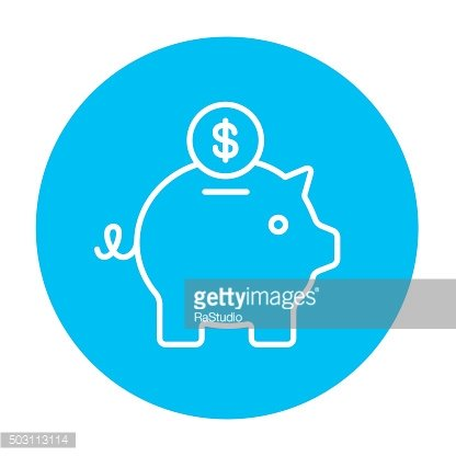 Piggy bank with dollar coin line icon
