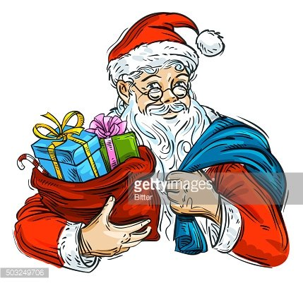 Christmas. Cheerful Santa Claus and bag with gifts