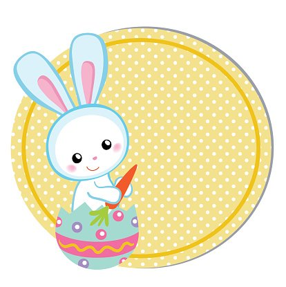Happy Easter. Cute Easter bunny sitting in egg.