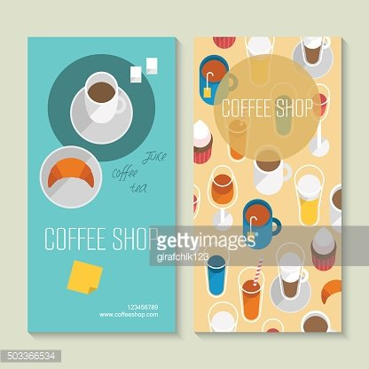 Coffee shop business card template with flat icons