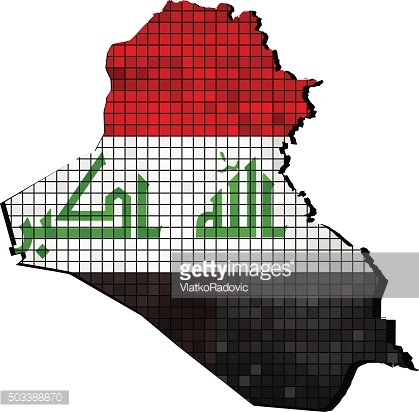 Iraq map with flag inside